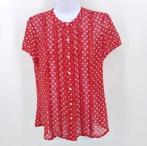 Ann Taylor Loft red white blouse 10 med Polka Dot
